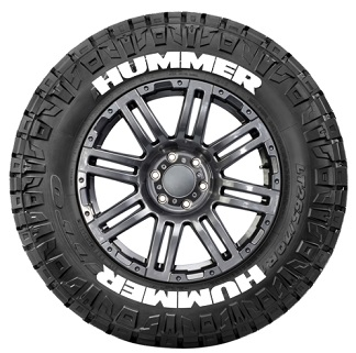 Tire Stickers HUMMER-1921-125-8-B Permanent Raised Rubber Lettering 'HUMMER' Logo - 8 of each -19