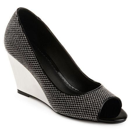 Journee Collection Womens Selma Pumps Wedge Heel, 7 Medium, Black
