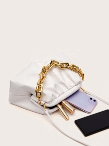 Chain Handle Croc Embossed Ruched Bag