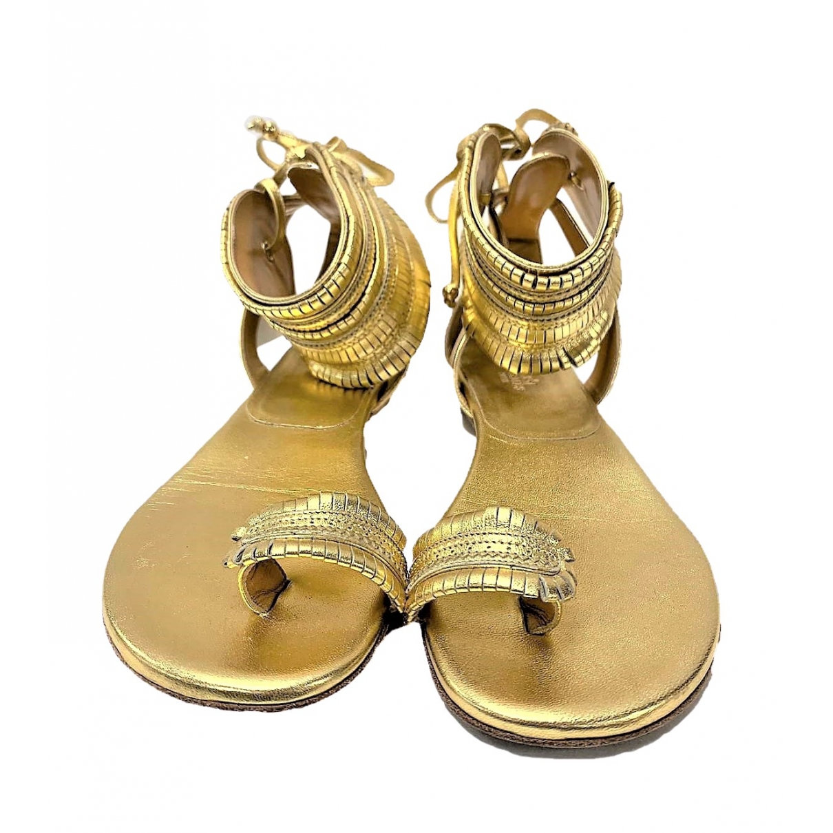 Herm??s \N Gold Leather Sandals for Women 38.5 EU