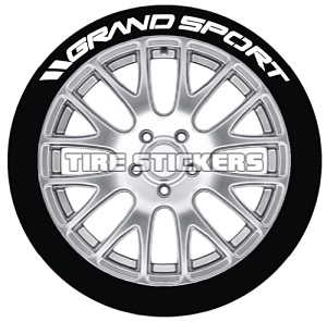 Tire Stickers GRNDSPRT-1718-1-4-O Permanent Raised Rubber Lettering '// Grand Sport' Logo - 4 of each -   17
