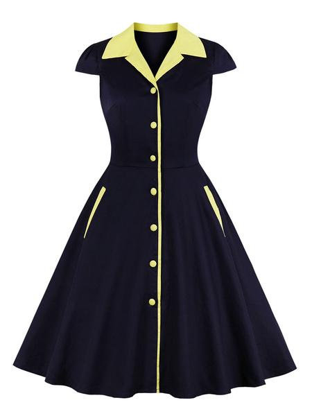Milanoo Vestido vintage Botones de mujer extragrandes en dos tonos azul marino oscuro Vestido de rockabilly de manga corta con cuello en V