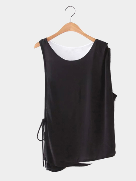 Yoins Black and White Double Layer Sleeveless Top