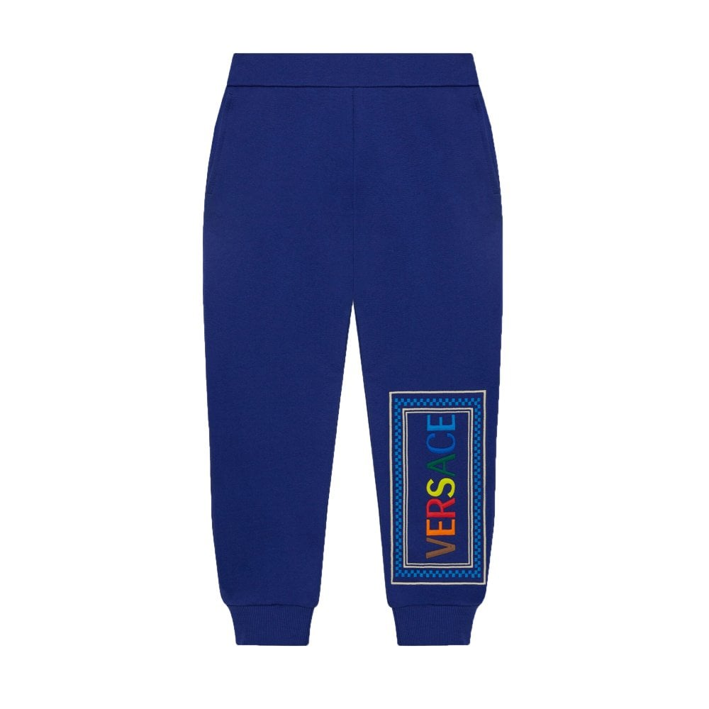 Versace Boys Cotton Logo Joggers Colour: BLUE, Size: 12 YEARS