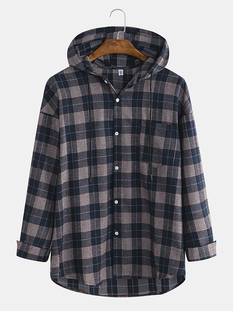 Mens Casual Cotton Plaid Print Single Breasted Hooded Down Jackets