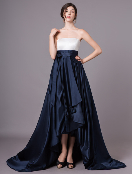 Milanoo Dark Navy Prom Dresses Strapless Satin A Line Pleated Sash Long Evening Dress With Train