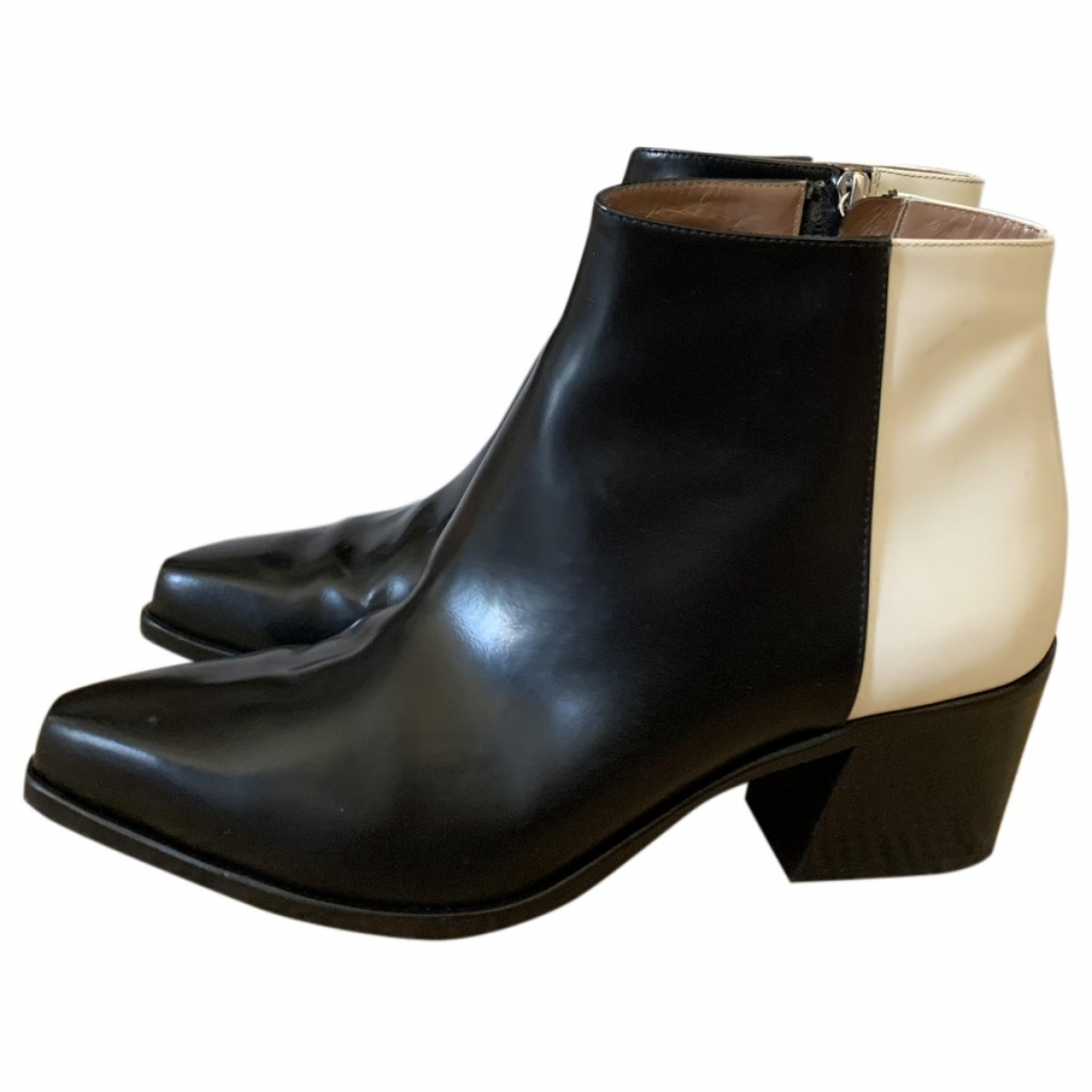 Pollini \N Black Leather Ankle boots for Women 40 EU