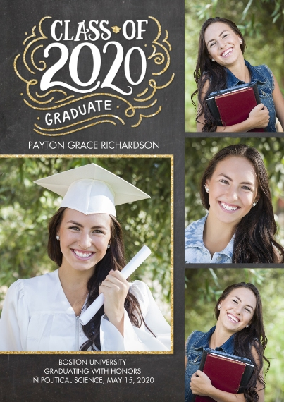 2020 Graduation Announcements Flat Glossy Photo Paper Cards with Envelopes, 5x7, Card & Stationery -2020 Class of HandLettered Swirls by Tumbalina