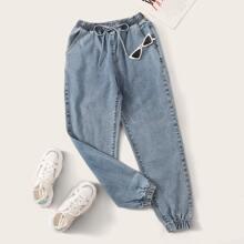 Plus Drawstring Tie Waist Carrot Jeans