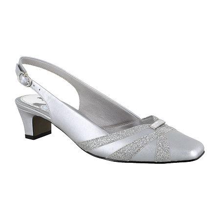 Easy Street Womens Pilar Square Toe Block Heel Pumps, 10 Medium, Silver