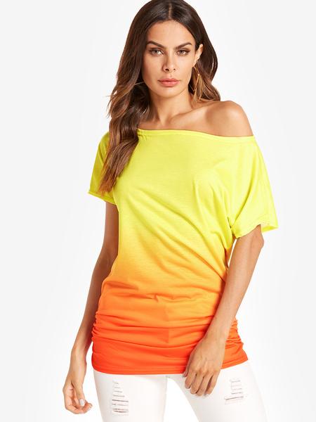 Yoins Fashion Round Neck Gradient T-shirt