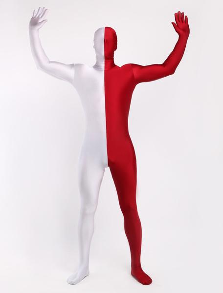 Milanoo Morph Suit Burgundy & White Zentai Suit Full Body Lycra Spandex Bodysuit