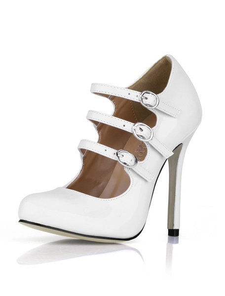 Milanoo White Buckles Stiletto Heel Patent Leather High Heels for Woman