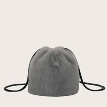 Faux Fur Decor Bucket Bag