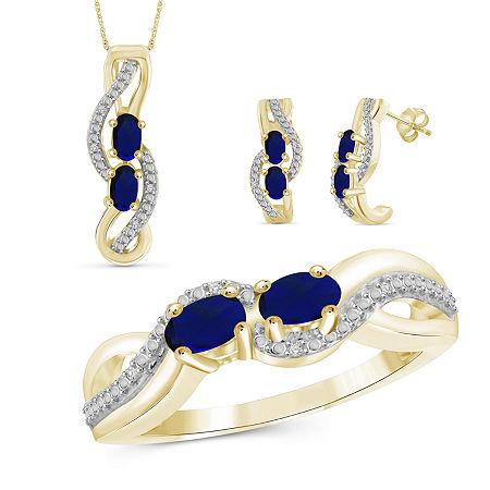 Diamond Accent Genuine Blue Sapphire 14K Gold Over Silver 3-pc. Jewelry Set, 7 , No Color Family