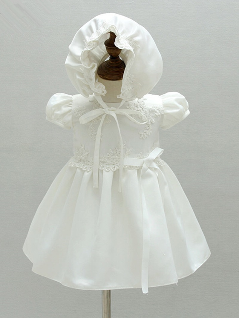 Ericdress Short Sleeves Appliques Matte Satin Christening Dress