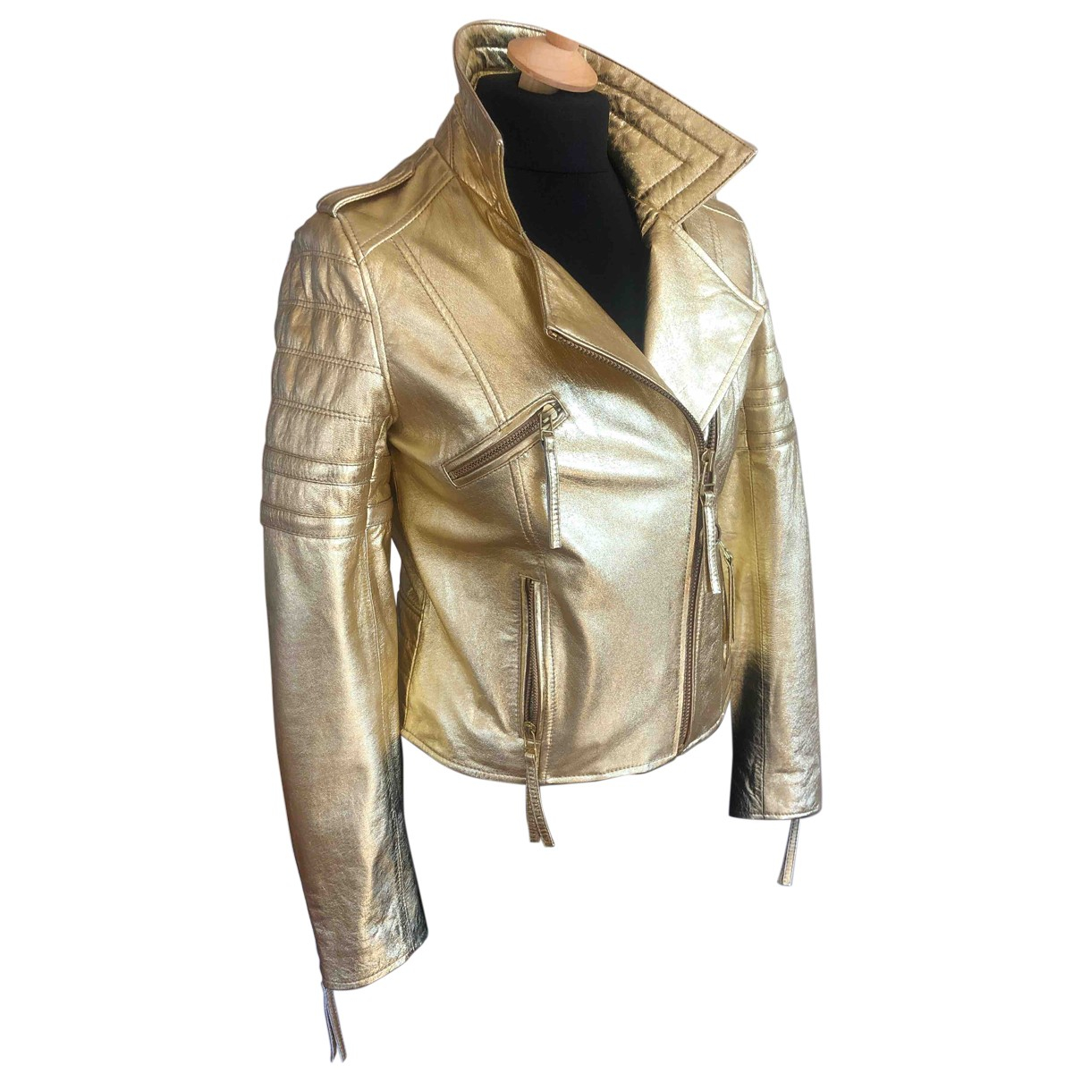 Beayukmui \N Gold Leather Leather jacket for Women 42 IT