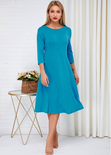 Cocktail Party Dress Blue Round Neck Three Quarter Sleeve Dress - S