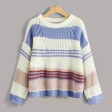 Drop Shoulder Color Block Striped Sweater