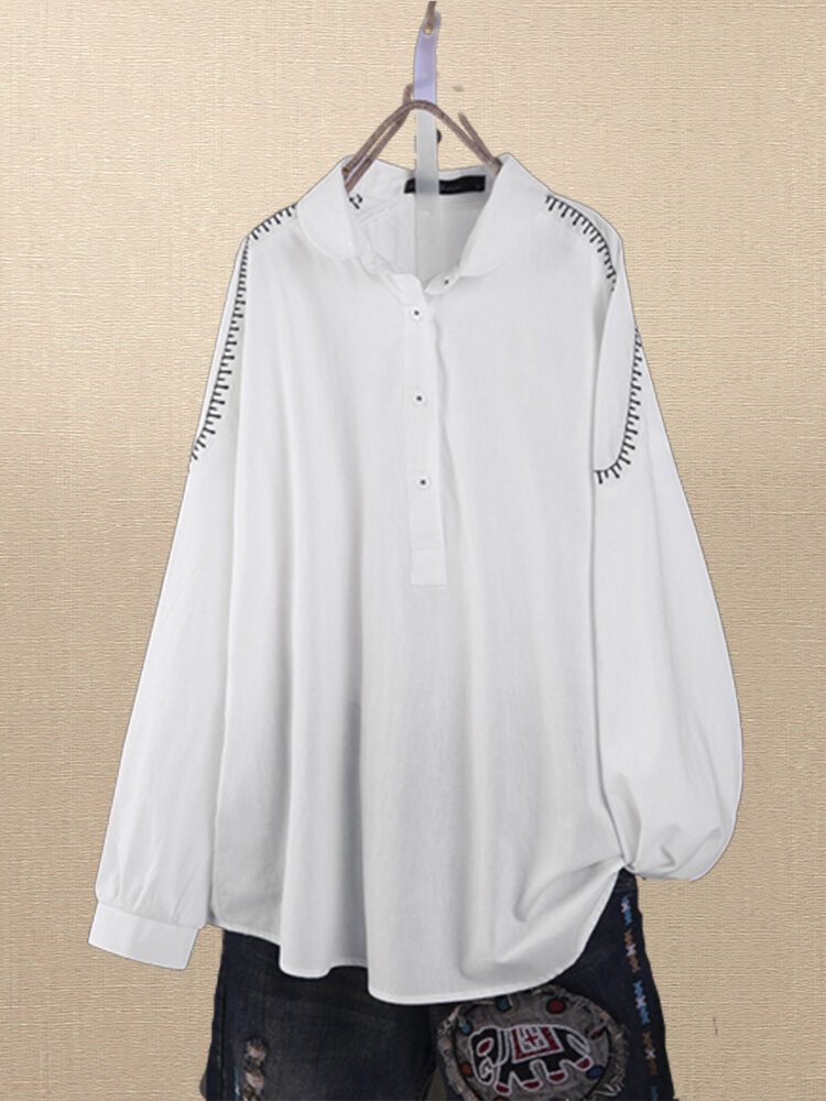 Vintage Embroidery Lapel Long Sleeve Plus Size Shirt for Women
