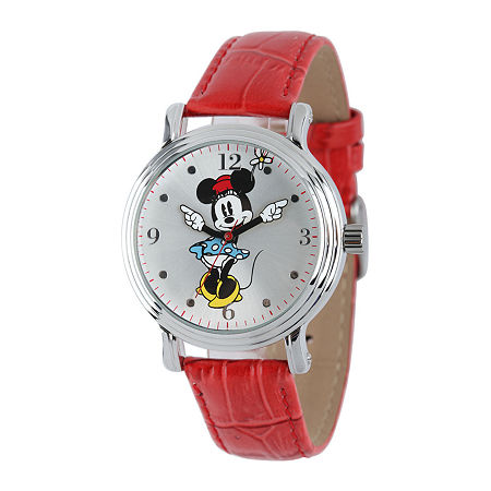 Disney Minnie Mouse Womens Red Leather Strap Watch, One Size , No Color Family