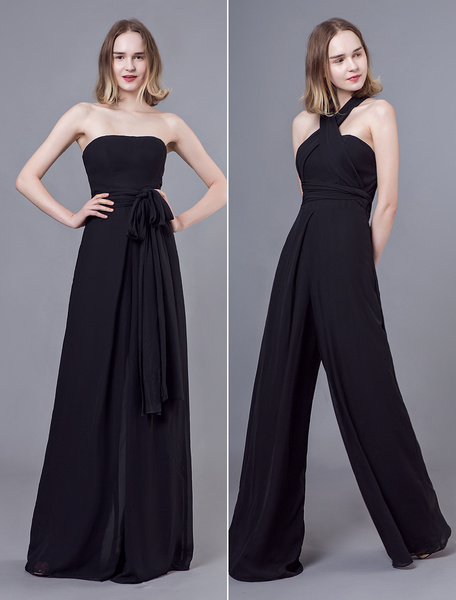Milanoo Black Jumpsuits Formal Evening Wedding Party Convertible Chiffon Long One Size Fits All Bridesmaid Dresses