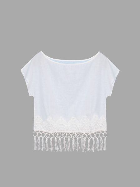 Yoins Fringed Crochet Lace Cropped Top