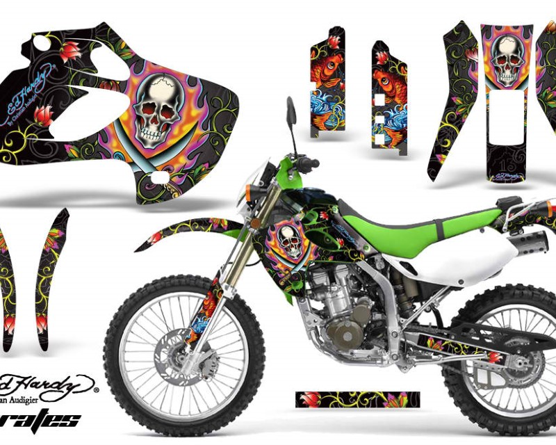 AMR Racing Dirt Bike Graphics Kit Decal Sticker Wrap For Kawasaki KLX250 1998-2003áEDHP BLACK