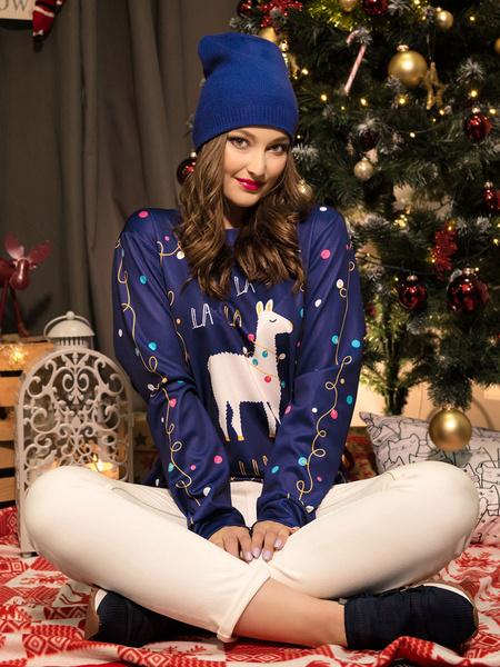Milanoo Ugly Christmas Sweater Dark Navy Christmas Pattern Women Holidays Costumes