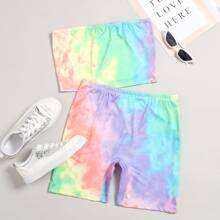 Plus Tie Dye Bandeau With Biker Shorts