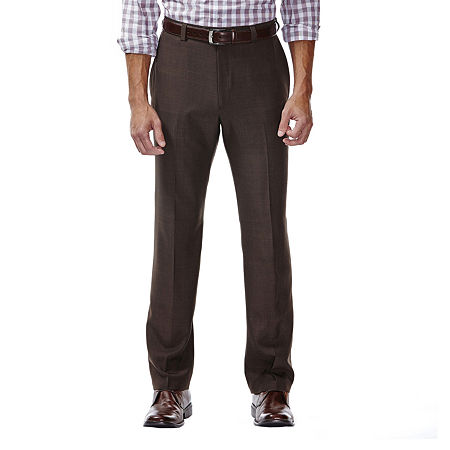 Haggar eCLo Stria Classic-Fit Flat-Front Dress Pants, 36 32, Brown