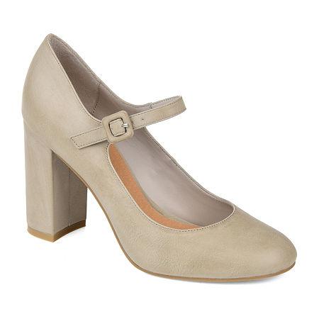 Journee Collection Womens Shayla Buckle Round Toe Block Heel Pumps, 8 Medium, Gray