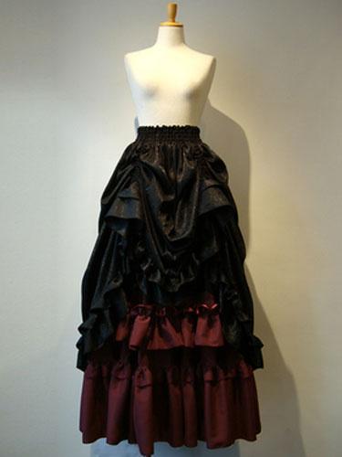 Milanoo Gothic Lolita Skirt SK Cotton Layered Ruffles Two Tone Long Lolita Skirt