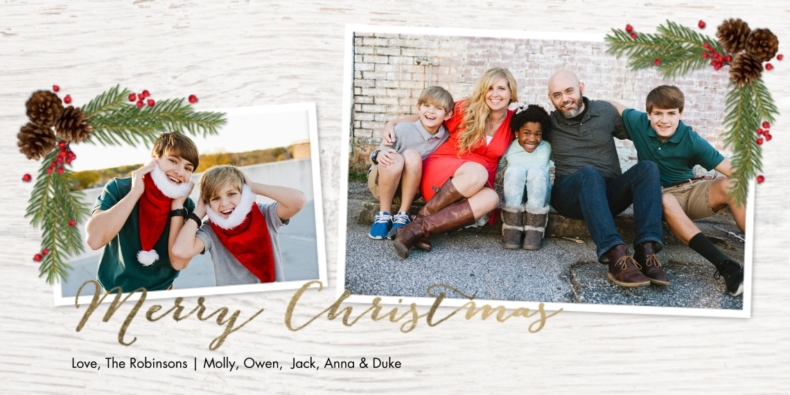Christmas Photo Cards Flat Matte Photo Paper Cards with Envelopes, 4x8, Card & Stationery -Christmas Rustic Gold Script by Tumbalina