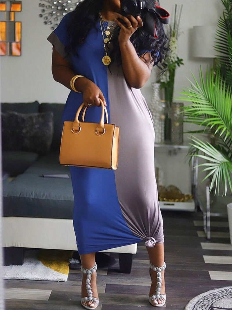 Ericdress Color Block Straight Short Sleeve Round Neck Dress