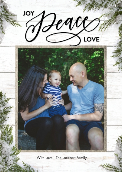 Christmas Photo Cards 5x7 Cards, Standard Cardstock 85lb, Card & Stationery -Christmas Joy Peace Love Greenery by Tumbalina