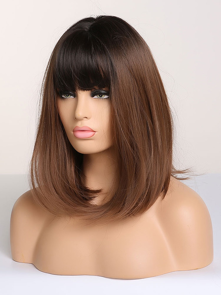 Milanoo Bobo Wigs Shoulder Length Coffee Brown Straight Synthetic Wigs With Bangs