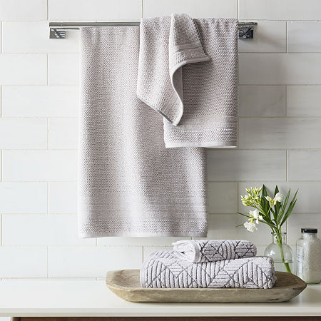 JCP Home 4 EVR Fresh Solid Charcoal Infused Bath Towel, One Size , Gray