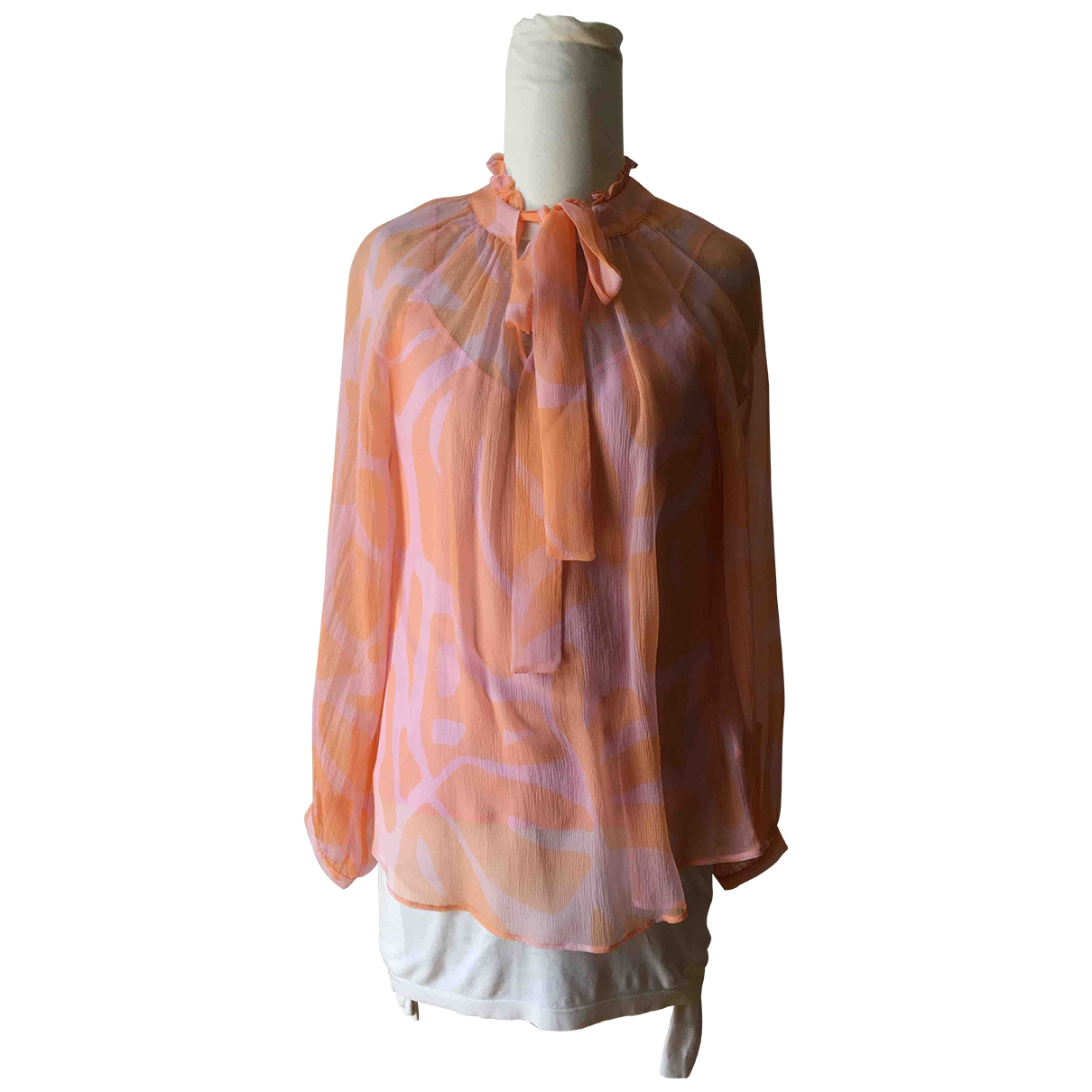 Non Signé / Unsigned Hippie Chic Pink Silk  top for Women 40 IT