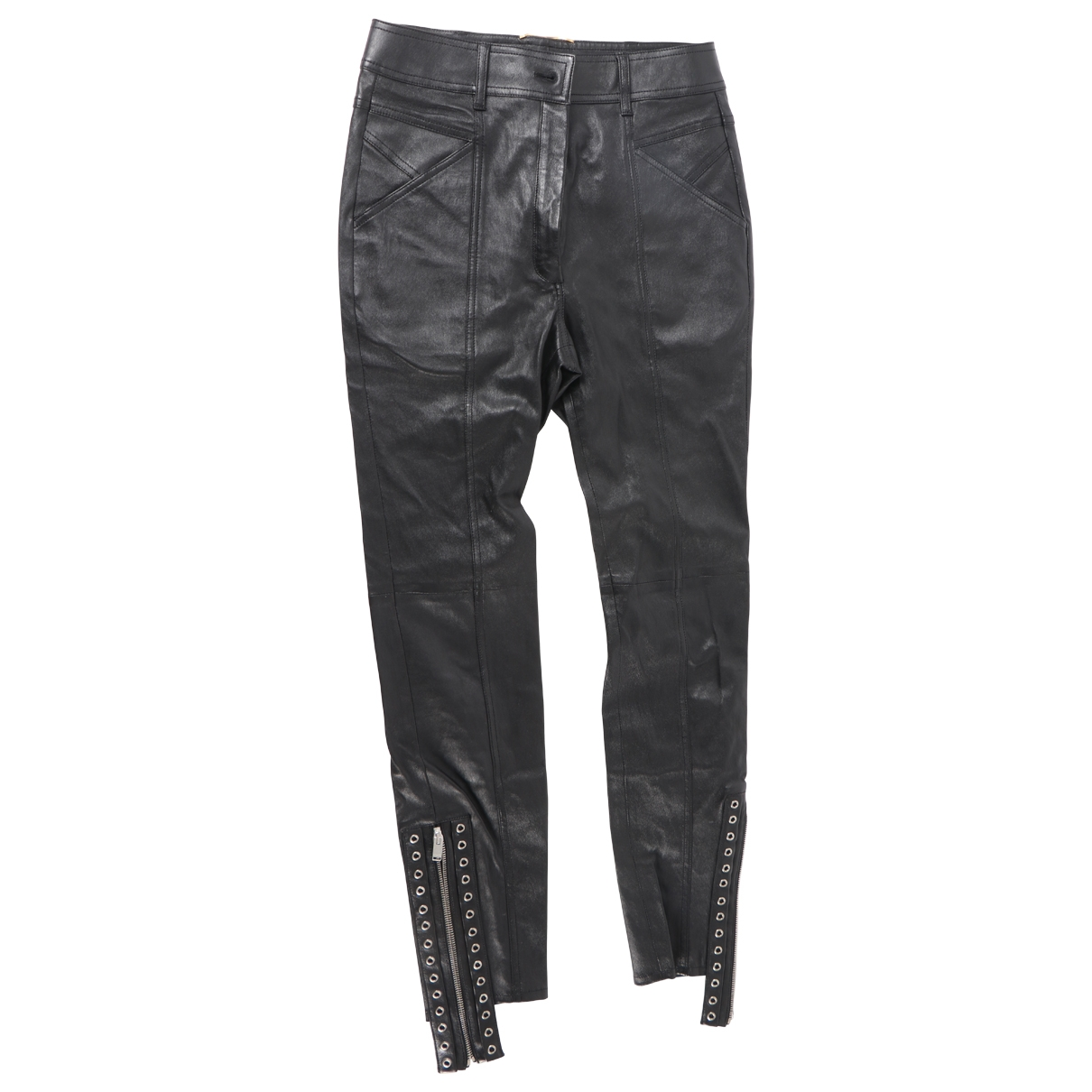 Saint Laurent \N Black Leather Trousers for Women 42 FR