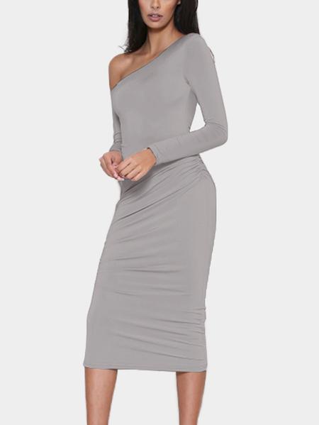 Yoins Grey One Shoulder Long Sleeves Midi Dress