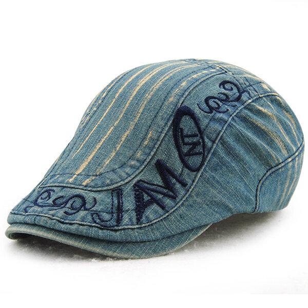 Men Cotton Washed Beret Cap Adjustable Buckle Embroidery Paper Boy Newsboy Cabbie Hat