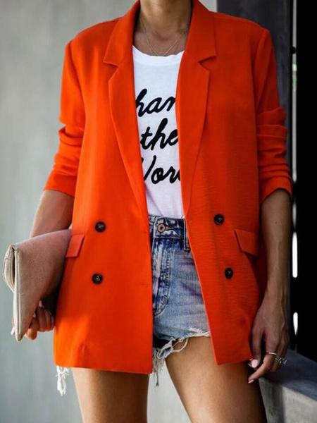 Milanoo Blazer For Women Blue Turndown Collar Long Sleeve Double Breasted Casual Blazers