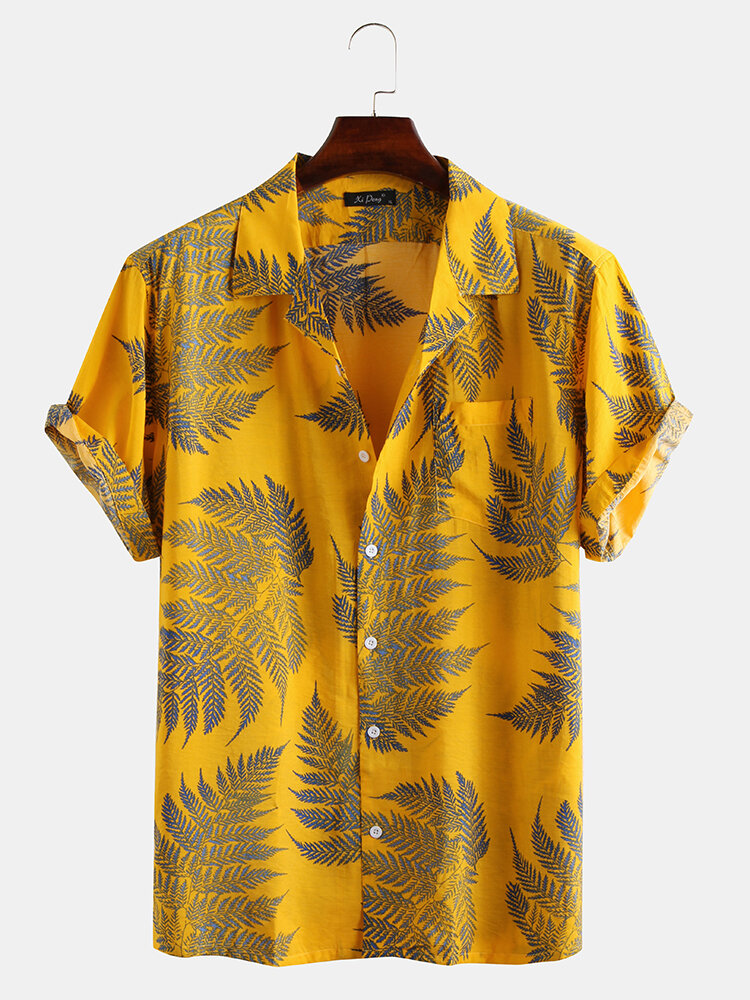 Mens 100% Cotton Leaf Printed Chest Pocket Turn Down Collar Short SleeveShirts