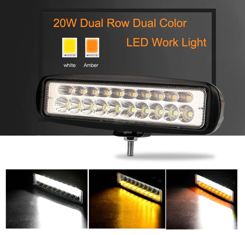 Race Sport Lighting RSDCWAWL Bracket Mount Dual Color White & Amber LED Auxiliary Work Light IP68