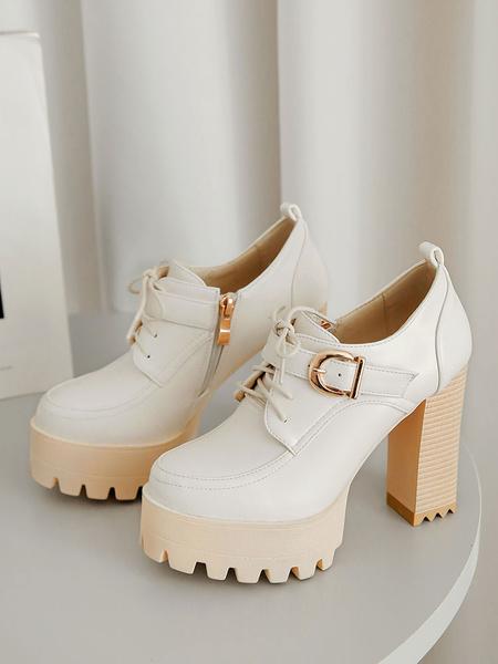 Milanoo Women\\'s Platform High Heel Oxfords Round Toe Chunky Heel Lace Up Shoes