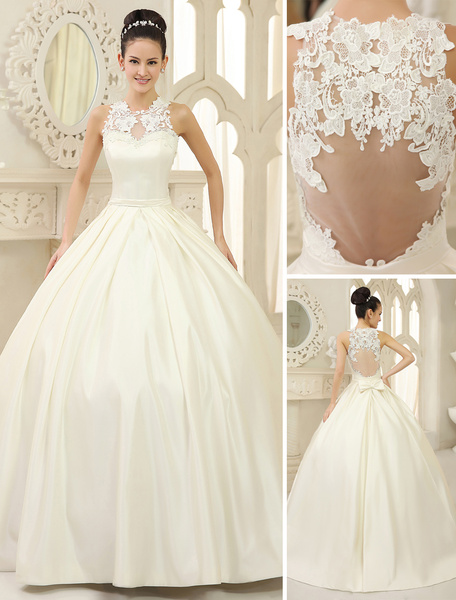 Milanoo Ivory Ball Gown Jewel Neck Bow Floor-Length Satin Bridal Wedding Gown