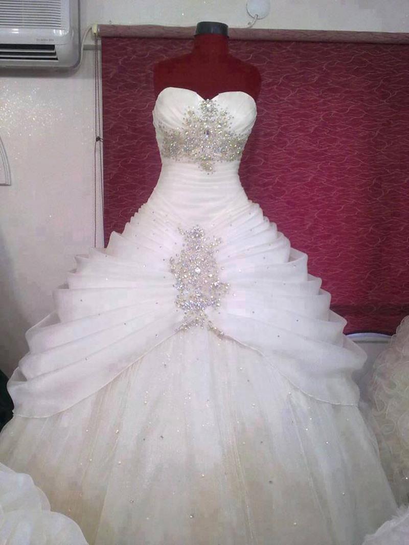 Ericdress Beaded Draped Ball Gown Wedding Dress