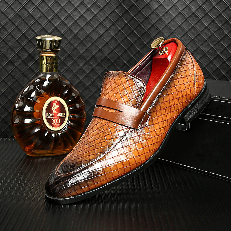 Men Retro Microfiber Leather Non Slip Business Slip On Casual Formal Shoes