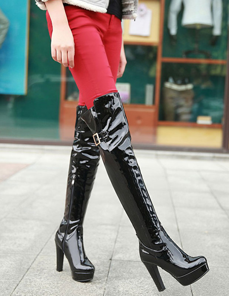 Milanoo Platform Over The Knee Boots Womens PU Round Toe Chunky Heel Boots